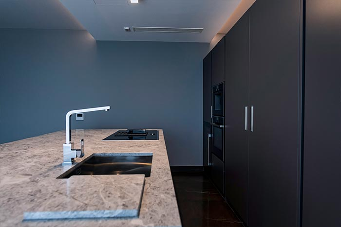 Black kitchen in a modern home located in Malta
