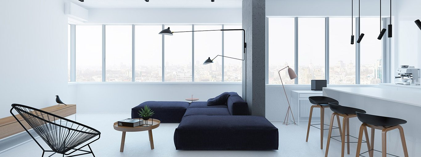 Minimalist apartment design idea in Kiev, Ukraine by Emil Dervish