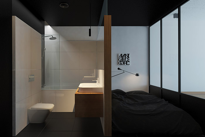 Small bedroom design and decor idea next to modern bathroom in a minimalist apartment in Ukraine