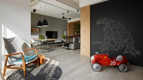This modern, inviting apartment in Taiwan has plenty of spaces for the kids to play