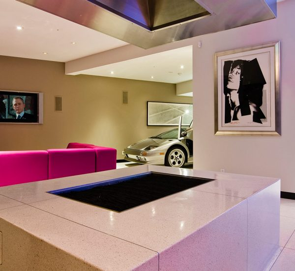 A modern Hollywood Hills bachelor pad with indoor car park