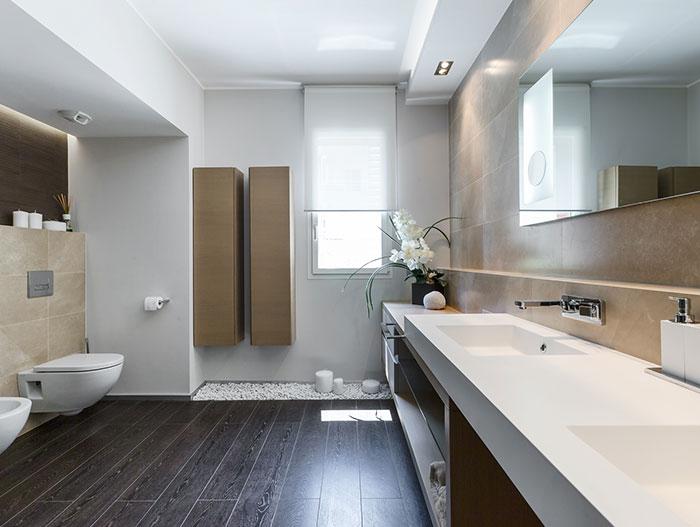 Modern bathroom design in dazzling apartment near Monaco for a lavish lifestyle on the French Riviera