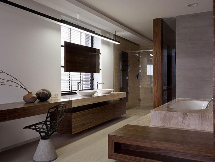 Amazing ensuite bathroom design in stylish luxury home in Ukraine by NOTT Design