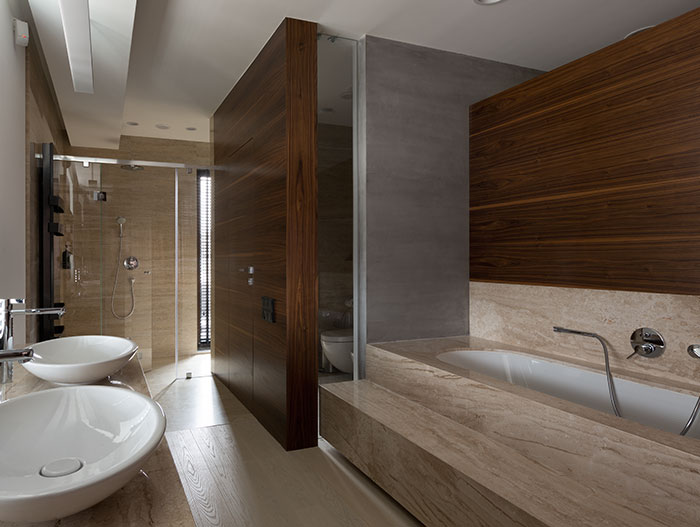 Incredible modern bathroom design in Two Levels redesigned home in Ukraine