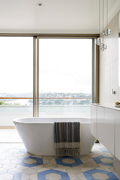 Modern bathroom design idea from renovated Australian home overlooking Sydney's Middle Harbour