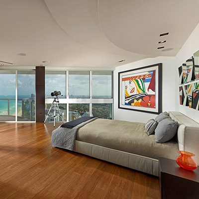 Modern bedroom with unbelievable Miami Beach views - a breathtaking penthouse by Pepe Calderin Design