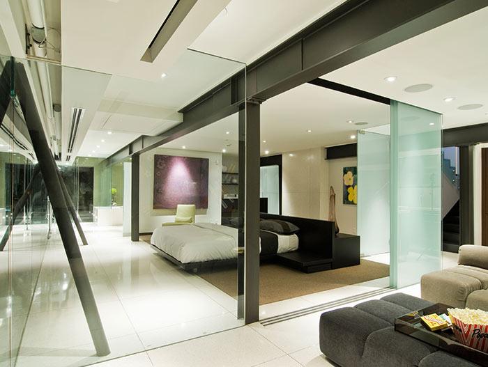 Modern bedroom interior Harold Way Residence in Hollywood Hills California