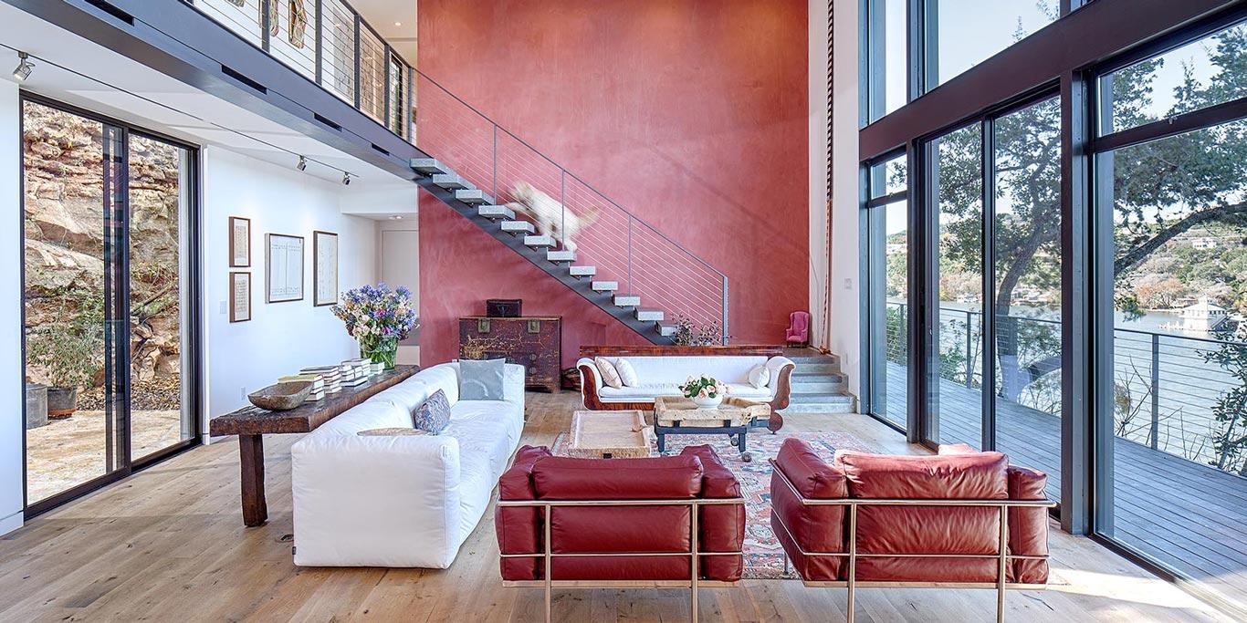 Modern living room design in modern cliff dwelling in Austin, Texas