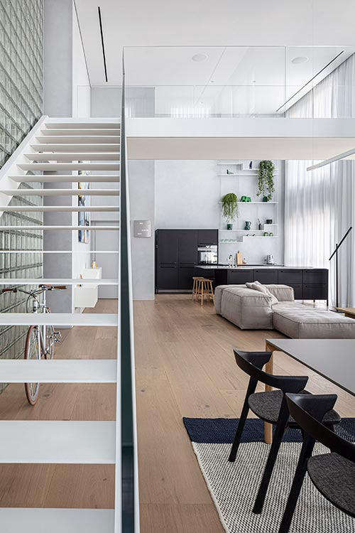 Bright duplex apartment with modern living area
