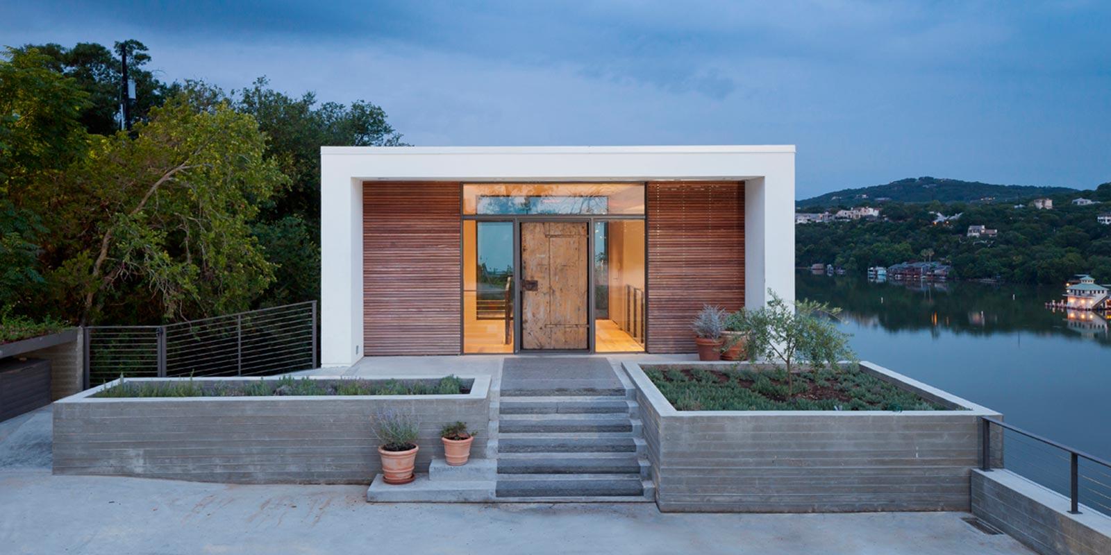 Modern entrance to Cliff Dwelling near Lake Austin, Texas
