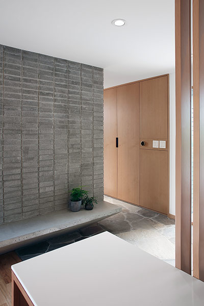 Modern entrance to modern residence near Seattle, remodeled for a young family