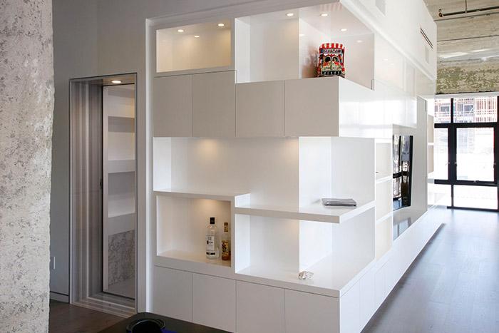 Minimalist furniture in modern Los Angeles twin loft by CHA:COL