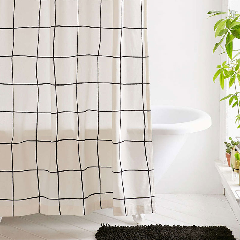Stylish shower cuirtain with modern grid design - Wonky grid shower curtain Urban Outfitters