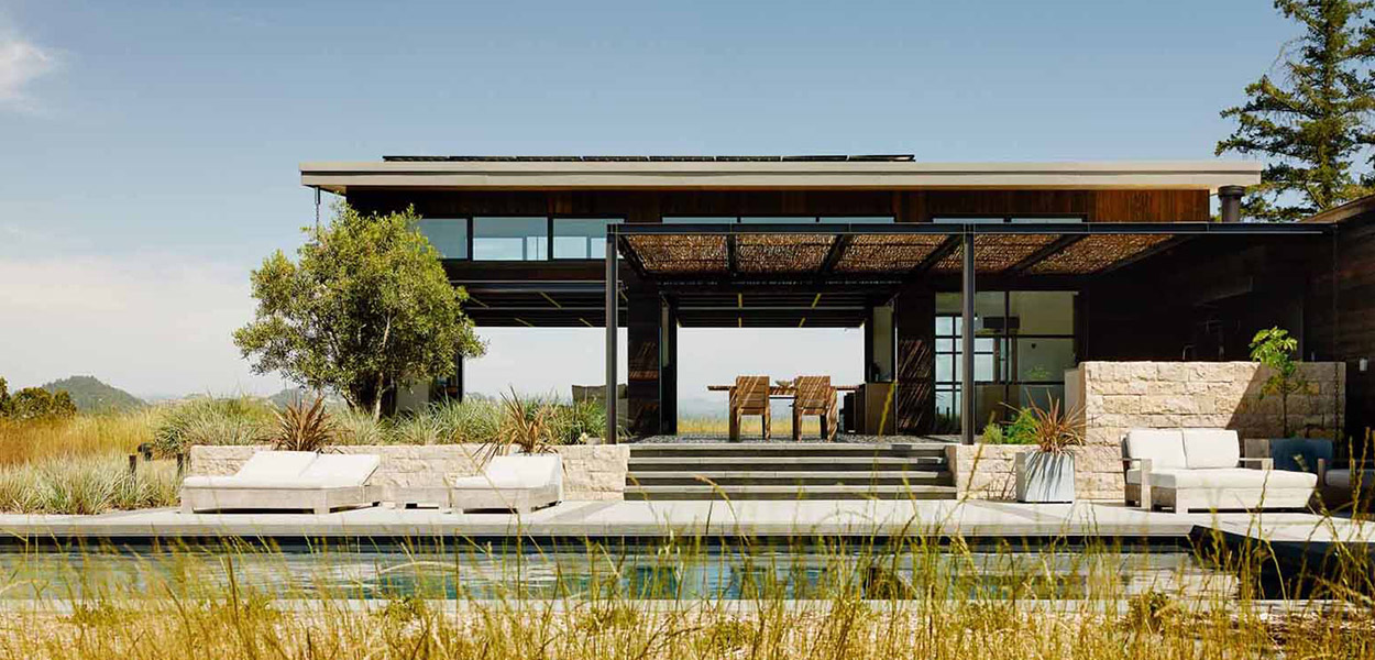 Modern home in Healdsburg, California boasts massive glass walls for seamless indoor outdoor connection - designed by Feldman Architecture