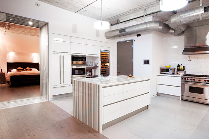 Modern industrial looking kitchen in downtown Los Angeles twin loft