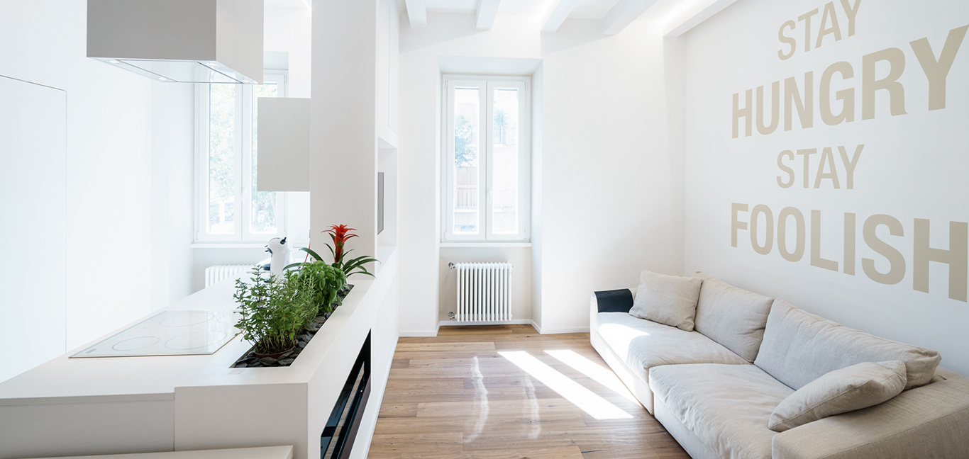 Minimalist apartment with all-white open-space interior in Rome, Italy by Brain Factory - Architecture & Design