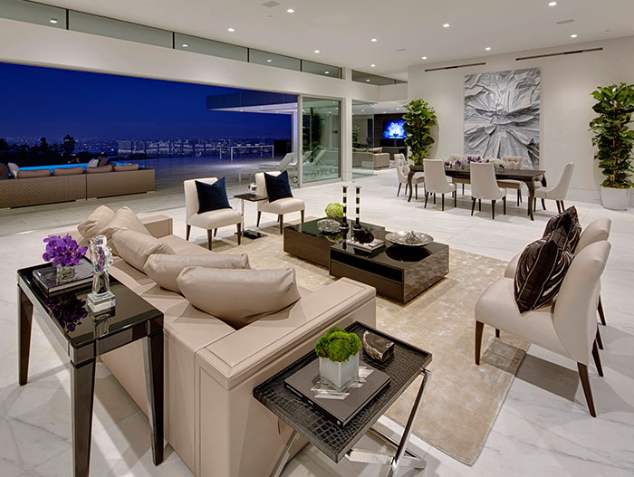 Modern living room in Beverly Hills mega mansion by McClean Design