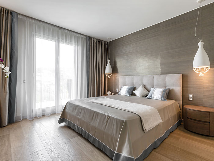 Modern master bedroom design by NG-Studio in stylish villa in Italy