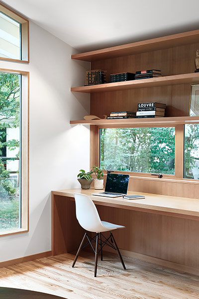 Modern open plan home office in remodeled Seattle, USA residence for a modern family lifestyle