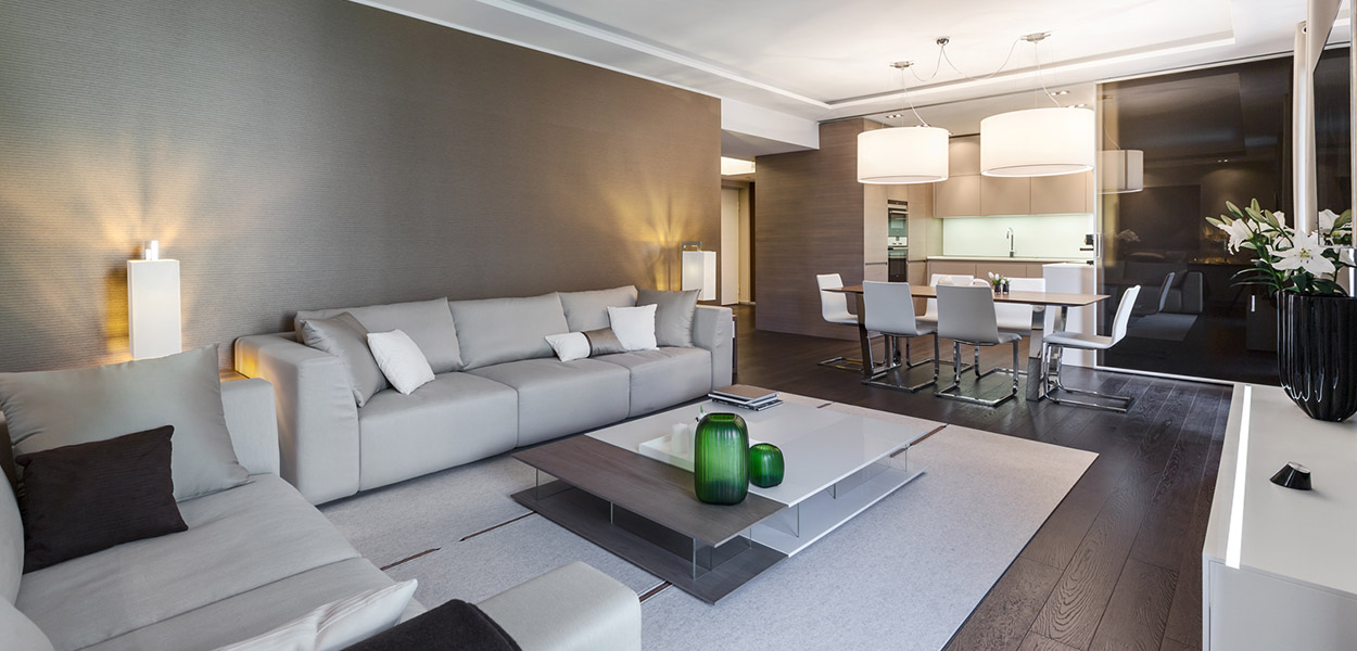 Modern, spacious living room in Cap d'Ail apartment near Monaco, for relaxing summer holidays on the French Riviera
