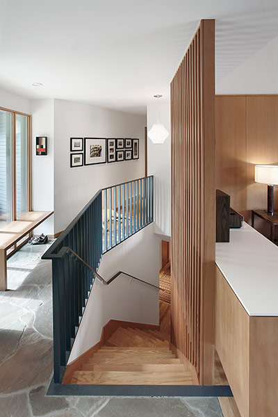 Modern staircase in remodeled Seattle, USA residence for a modern family lifestyle