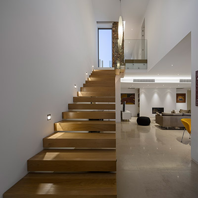 Modern wood staircase in contemporary villa in Algarve