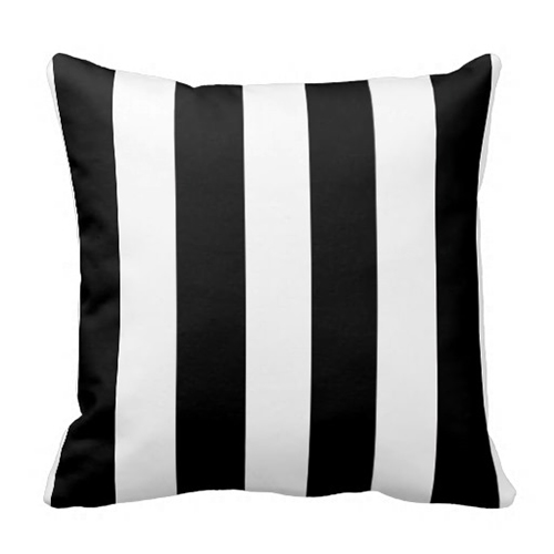 Modern Black White Stripes Pattern Pillow