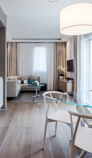 Guest can enjoy a relaxing, luxurious stay in this Monaco apartment designed by NG-Studio