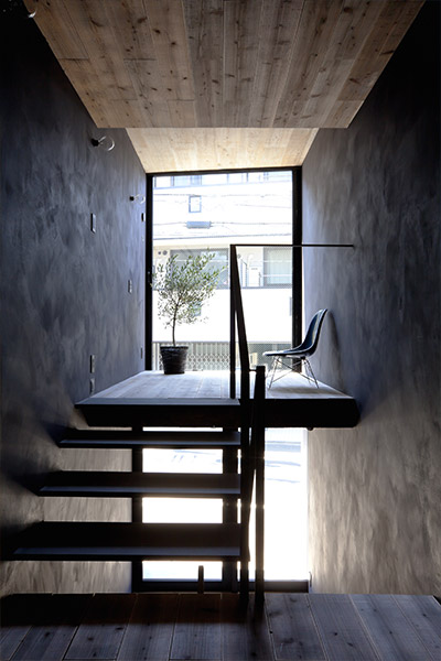 Modern staircase in an extremely narrow 1.8m house in Tokyo, Japan by YUUA Architects
