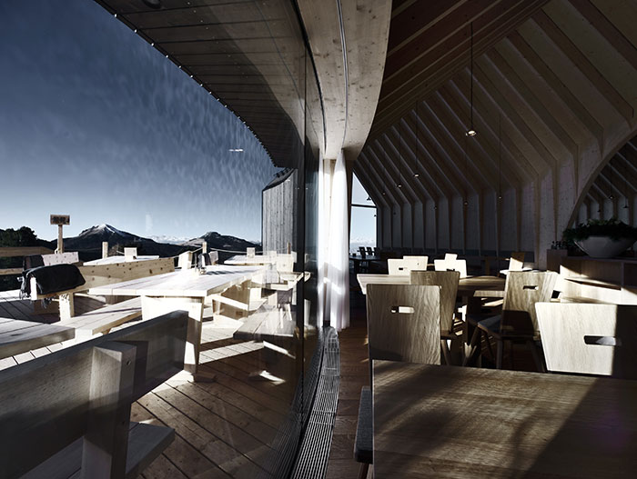 Oberholz Mountain Hut by Peter Pichler Architects:  This wooden restaurant is a landmark in the Italian Alps