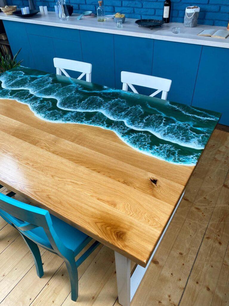 Cool ocean epoxy resin table