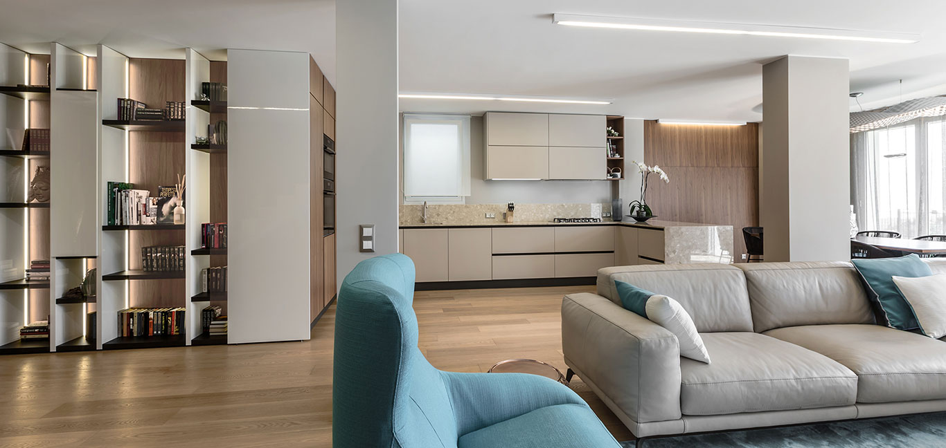 Open-plan kitchen and living area in a stylish villa by NG-Studio in Bordighera, Italy