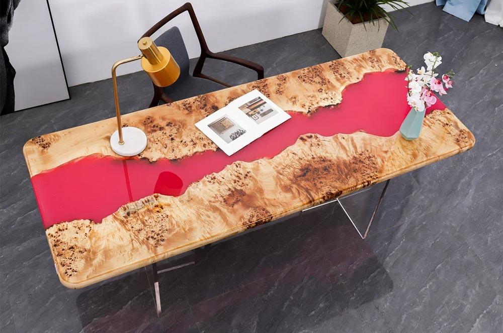 Red epoxy river table - unique piece of furniture