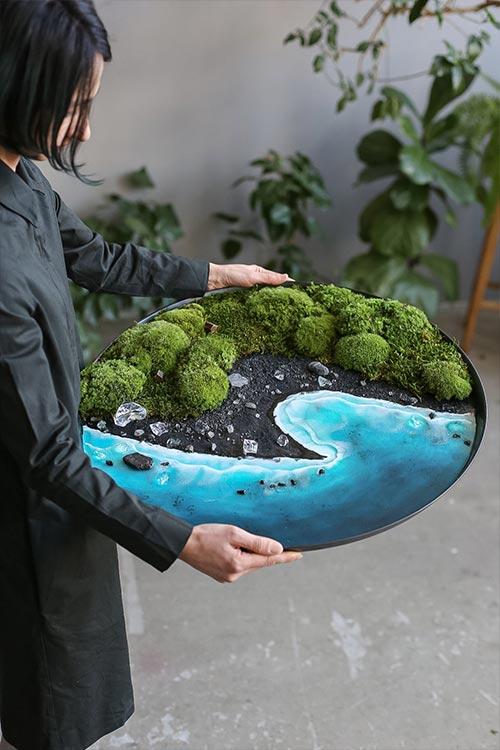 Unique framed moss and ocean resin art