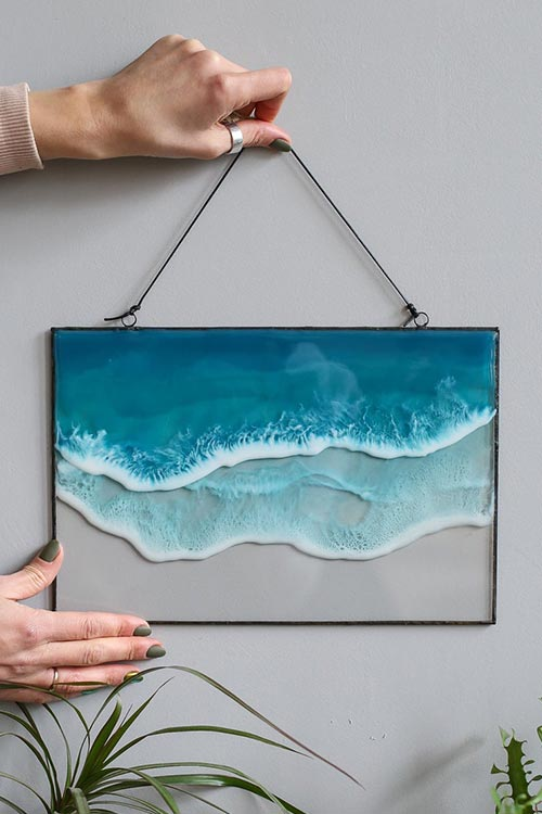 Epoxy resin wall art inspired by ocean waves for sale