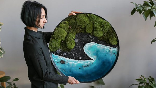 Unique framed moss and ocean resin wall art by Anna Paschenko