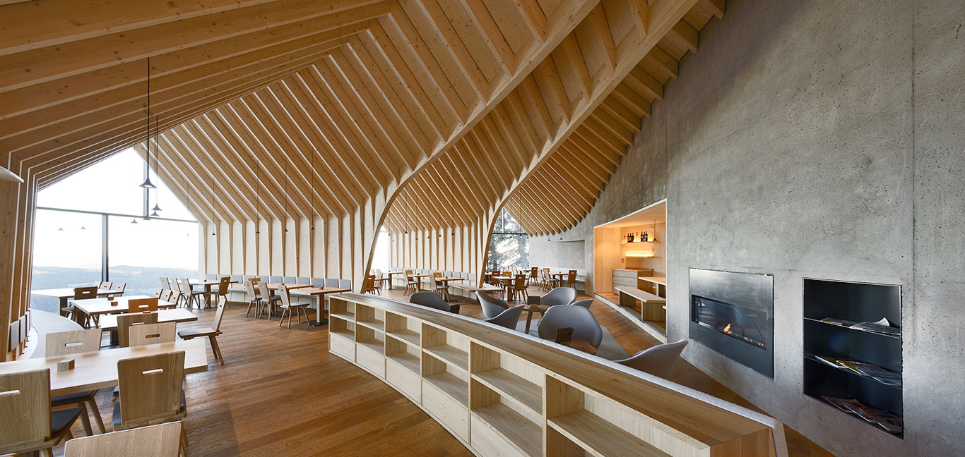 This beautiful restaurant located in the Italian Alps, at 2.000m offers great food and stunning mountain views
