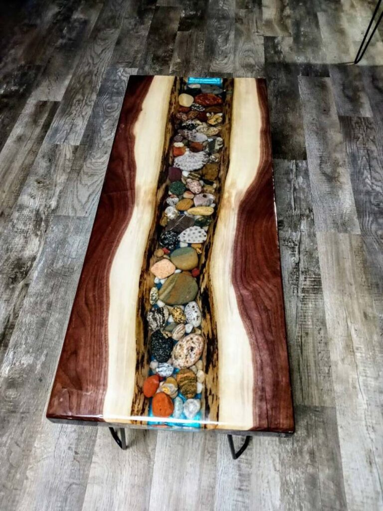 Unique river rock epoxy table - the river table can be customized to your needs