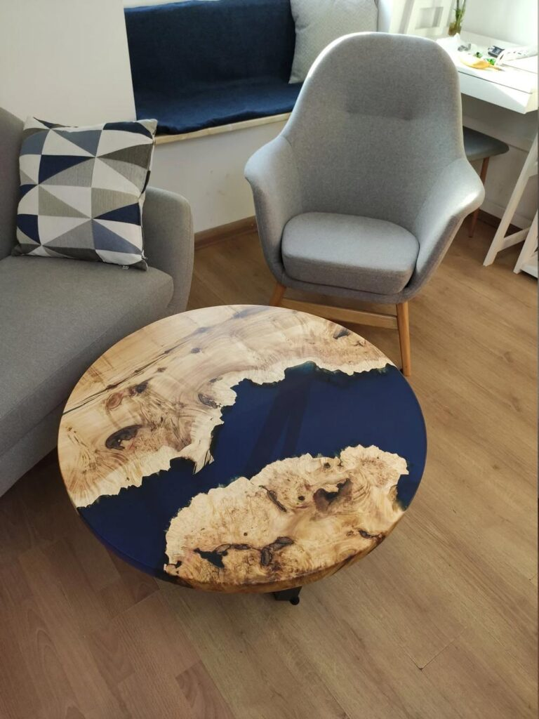 Round epoxy river table for sale