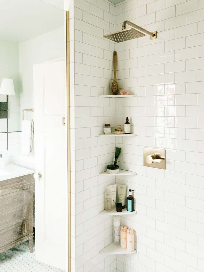 Shower shelves allows you to unclutter your bathroom