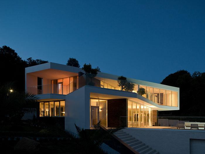 Sochi Villa at night - contemporary architecture and interior design by Alexandra Fedorova