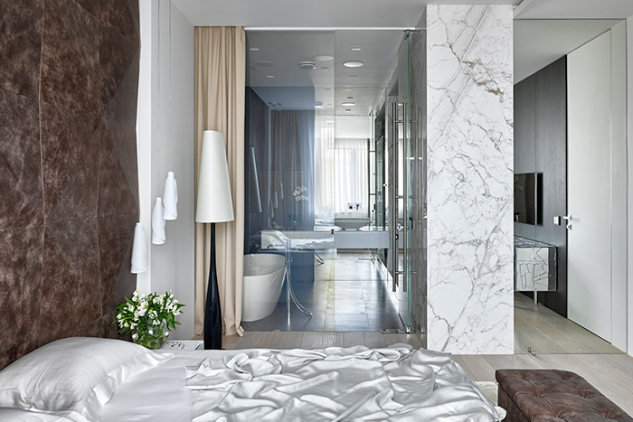 Master bedroom with amazing ensuite bathroom exudes air of sophistication - part of a comfortable apartment in Moscow, Russia designed by Alexandra Fedorova