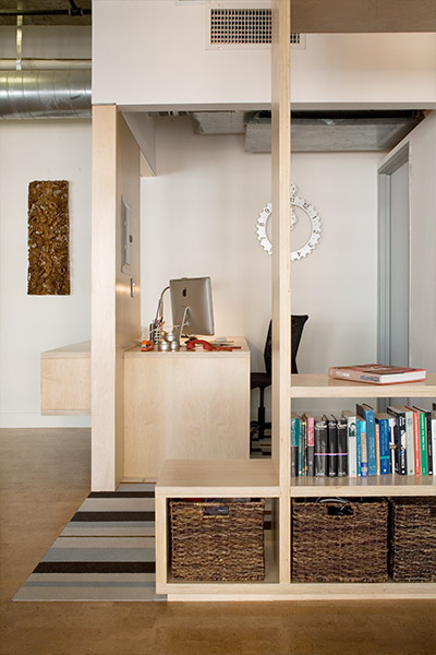 South Park loft shelving system - Unit was remodeled on a limited budget by CHA:COL