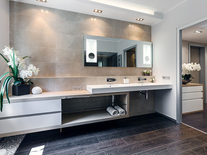 Spectacular bathroom design benefits from the addition of flowers - in amazing summer retreat apartment in Cap d'Ail