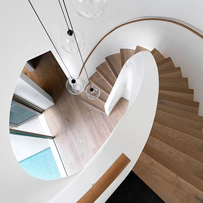 Modern staircase inside a two-storey Australian addition - design by Luigi Rosselli Architects