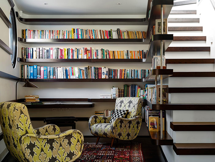 Library design for the owner's book collection - stunning dwelling in Sydney, Australia