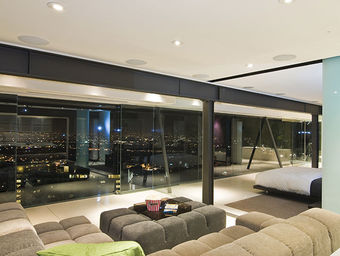 Stunning views from contemporary bedroom bachelor pad