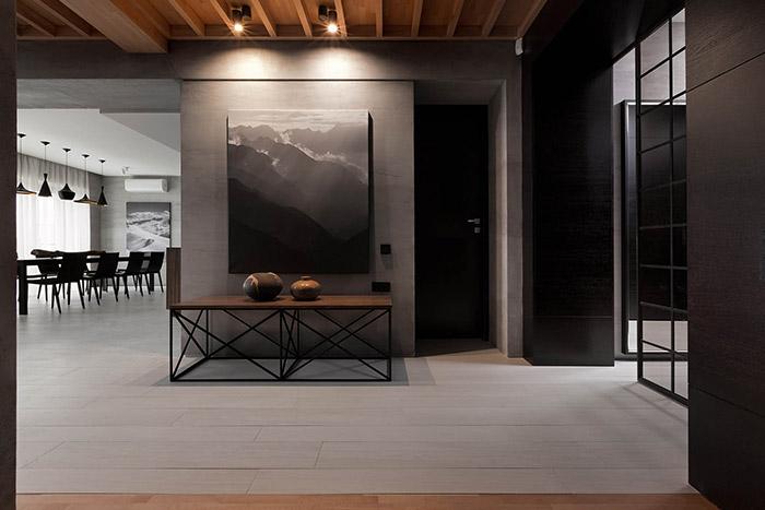 Spectacular modern hallway in redesigned home in Ukraine by NOTT Design