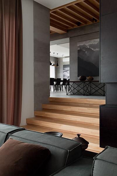 Stylish modern living room design in redesigned family home in Ukraine