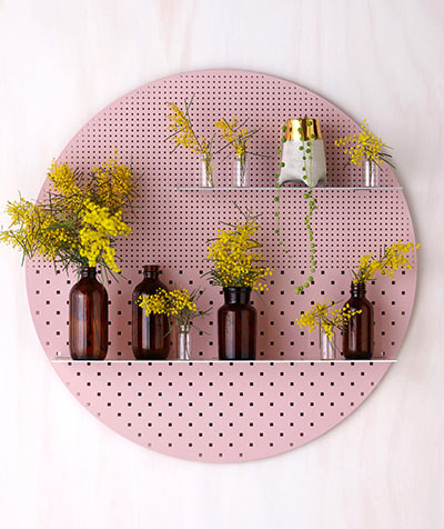 Stylish perforated wall shelves Bride and Wolfe